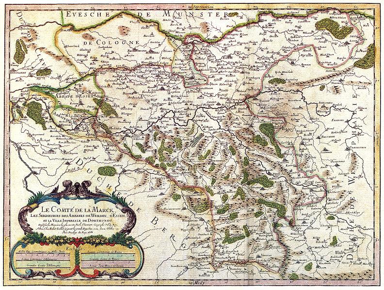 """Comitatus Marchia et Ravensberg (Grafschaft Mark und Ravensburg) aus: Theatrum Orbis Terrarum, sive Atlas Novus in quo Tabulæ et Descriptiones Omnium Regionum, Editæ a Guiljel et Ioanne Blaeu"""", 1645 (aus: Wikipedia)"""