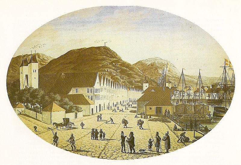 Foto:  Die Deutsche Brücke in Bergen (Bryggen). Aquarell von Joh. F. L. Dreier, 1817 - Quelle: Wikipedia.de