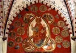 Johan de Camen (unten links), Ratsherr in Lübeck 1190 (Bildnis im Heilig-Geist-Hospital, Lübeck)