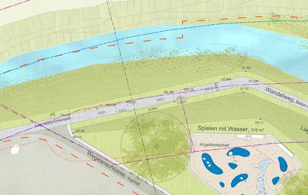 Nach in diesem Jahr soll sie starten, die Umgestaltung der Uferlandschaft zwischen Partnerschaftsbrücke und Hochstraßein einen attraktiven, erlebbaren und abwechslungsreichen Natur- und Erholungsraum für alle - mit Beachvolleyballfeld, Kletterspielfläche, Bodentrampolinen, Spielgeräten für Jung und Alt, Wasserspielplatz, Bäumen, Liegewiese, Promende, Bänken, Sitzstufen und Treppe zum Wasser. Kurzum: der Sesekepark entsteht, eine grün-blaue Oase nur wenige Meter entfernt vom Alten Markt. (Quelle: Planungsbüro Glück / Stadt Kamen)