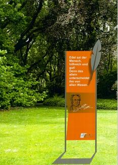 Bestandteil des Parks am Wasser wird ein vom Kulturkreis Kamen (KKK) angeregter Literaturpfad: Auf orangenen Stelen mit auswechselbaren Tafelnfindet man künftig Zitate oder Lyrik bekannter Dichter und Philosophen. (Quelle: Präsentation Planungsbüro Glück)